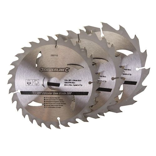 3 Pack Silverline 292712 TCT Circular Saw Blades 16, 24, 30 Teeth 150mm x 20mm